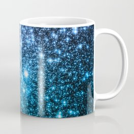 Galaxy Sparkle Stars Periwinkle Blue Turquoise Ombre Coffee Mug