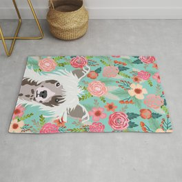 Chinese Crested floral dog breed pattern cute dog gifts for dog lovers Rug