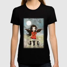 Child of Halloween Cute Gothic Vampire Child and Black Cats Illustration T-shirt