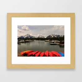 Canoe Meeting At Jackson Lake Framed Art Print