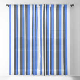 Team Colors 4... blue, black Sheer Curtain