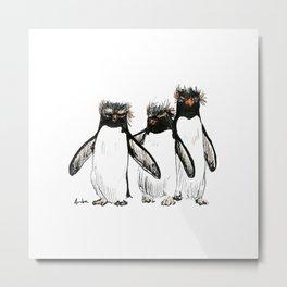 Macaroni Penguin Gang Metal Print