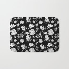 Black and White beaded flower print by Annalee Beer Bath Mat