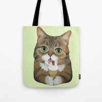 lil bub Tote Bags featuring Lil Bub - famous cat by PaperTigress