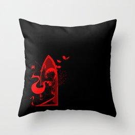 Beati Vespertilionem: Red Throw Pillow