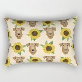 Airedale Terrier Sunflower floral print cute dogs and flowers design Rectangular Pillow