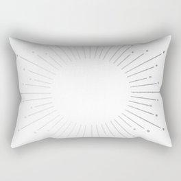 Sunburst Moonlight Silver on White Rectangular Pillow