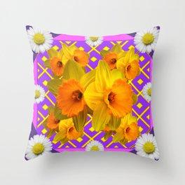 Shasta Daisy Fuchsia Gold Daffodils Design Throw Pillow