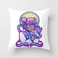 magical girl Throw Pillows featuring Magical Girl by AndroïdPrïest
