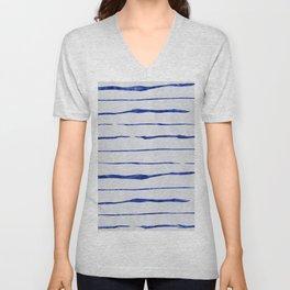 Blue Wiggly Stripes Pattern Unisex V-Neck