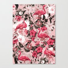 Floral and Flemingo III Pattern Canvas Print