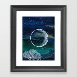 Crescent Moon Mixed Media Painting Framed Art Print