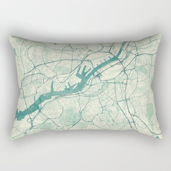 Gothenburg Map Blue Vintage Rectangular Pillow