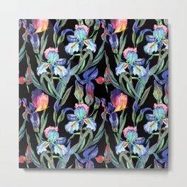 Modern elegant colorful watercolor irises floral pattern Metal Print