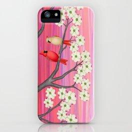 cardinals, dogwood blossoms, bunnies, & crocuses iPhone Case