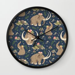 Cute mammoths Wall Clock