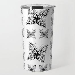 Butterfly black fishnet on a white background Travel Mug
