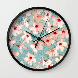 Shabby Chic Hibiscus Patchwork Pattern in Peach & Mint Wall Clock