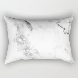 Gentle Marble Collection: Soft Ebony White With Ashen Veins Rectangular Pillow