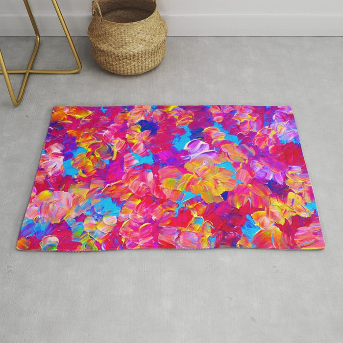 Floral Fantasy Bold Abstract Flowers Acrylic Textural Painting Neon Pink Turquoise Feminine Art Rug By Ebiemporium