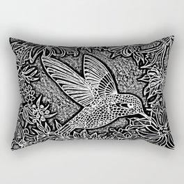 Hummingbird In Flowery Wreath Linocut Rectangular Pillow