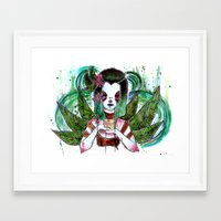 coasters Framed Art Prints featuring Green Tea by Cheerful Scorpion