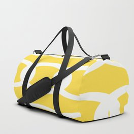 White Circles Yellow Background #decor #society6 #buyart Duffle Bag