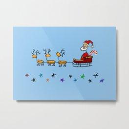 Santa Claus in his Sled with Reindeers Metal Print