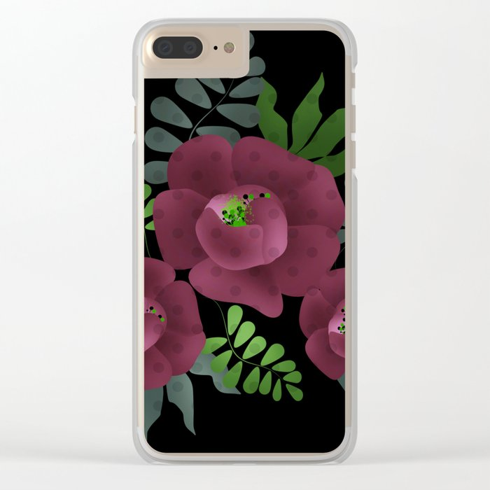 Burgundy roses. Clear iPhone Case