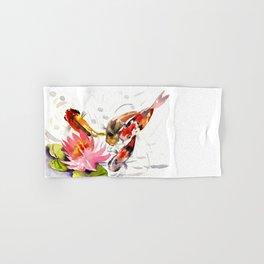 Koi Pond, feng shui koi fish art, design Hand & Bath Towel
