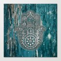 Silver Hamsa Hand On Turquoise Wood by maryedenoa
