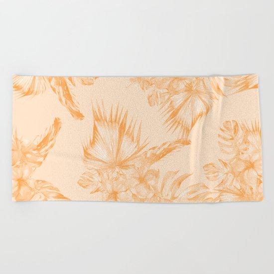 Island Vacation Hibiscus Coral Mango Orange Beach Towel