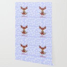 Believe Typography Christmas Deer Head Poinsettia Wallpaper
