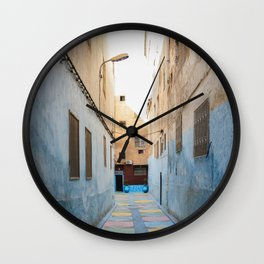 Maroccan Alleys. Fes, Marocco. Fine Art Travel Print. Colourful Wall Art. Wall Clock