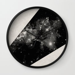 Expanding Universe - Abstract, black and white space themed design Wall Clock