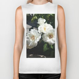 Bee And White Roses Biker Tank
