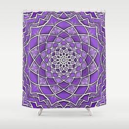 12-Fold Mandala Flower in Purple Shower Curtain