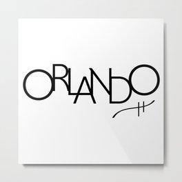 Orlando - Compressed City Beautiful - Word Art Metal Print