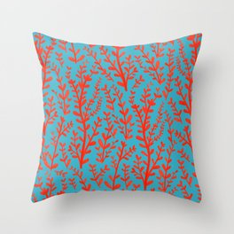 Turquoise and Red Leaves Pattern Throw Pillow