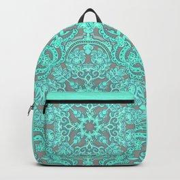 Mint Green & Grey Folk Art Pattern Backpack