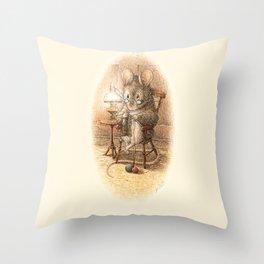 Grandmother Mouse Knitting Throw Pillow