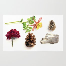 Flowers, Pinecones, and Driftwood Flatlay Rug