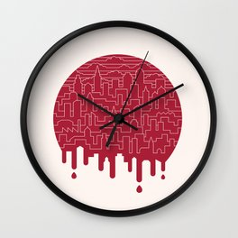 Painted Red Wall Clock
