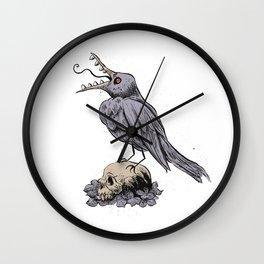 Black Bird on Skull Wall Clock