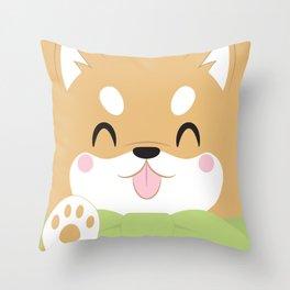 Shiba Inu Block Throw Pillow