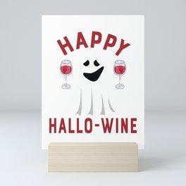 Happy Hallo Wine Halloween Ghost Drinking print Mini Art Print