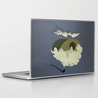 travel poster Laptop & iPad Skins featuring The Shire Vintage Travel Poster by Nana Leonti