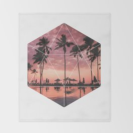 SUNSET PALMS- Geometric Photography Throw Blanket