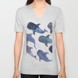 Whale Shark Pattern Party Unisex V-Neck