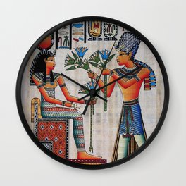 Isis On Papyrus Wall Clock